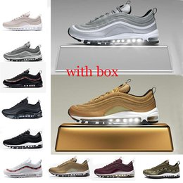 Wholesale Silver Flats Shoes - with box 97 shoes Triple white black pink Running shoes Og Metallic Gold Silver Bullet Mens trainer Women sports Shoes sneakers size 36-45
