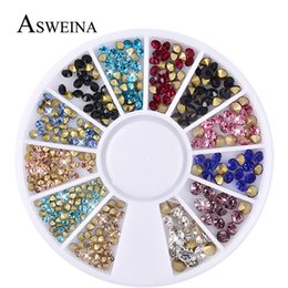 Wholesale Nail Art Mixed Glitter - Asweina 2018 Mixed Glitter Nail Art Wheels Sharp End Crystal Colorful Rhinestones Perfect Design Nail Beauty Decoration Tools