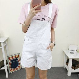 8c677b4a072 Girl High Waist Denim Shorts Women Suspender Trousers New Summer Lady Female  Jumpsuit Loose Casual Short Jeans Feminino