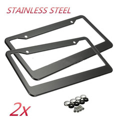 Wholesale Canada Autos - 2Pcs 12in x 6in Stainless Steel Car Auto License Plate Frame Covers Kit For Auto Truck Vehicles Only For American Canada Car New