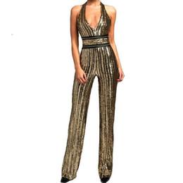 Traje de lentejuelas de oro online-Nuevo Gold Sequin Jumpsuit Romper Mujeres Sexy Body con cuello en V Striped Bodycon Jumpsuit Sexy Party Playsuit