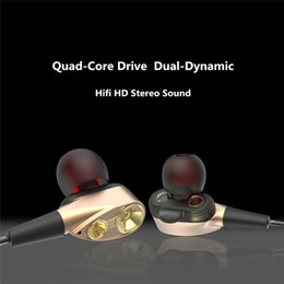 Wholesale Headphones Cable Wrap - 3.5mm HiFi for iphone stereo headphone Dual-Dynamic Quad-core Speaker In-ear earphone Flexible Cable Anti-wrap earphones with HD Microphone