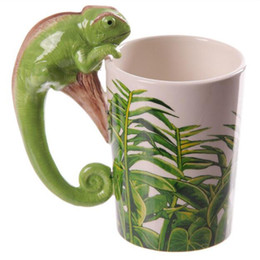 Wholesale Pottery Animals - 1PCS Creative Ceramic Hand-Painted 3D Cartoon Lizards Animals Mug Coffee Juice Cups Handle Cups Mug Free Shipping Gift