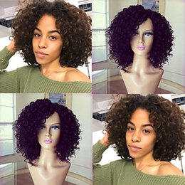 Wholesale Wig Short Blonde Heat - Cheap High Quality 150% Density 1b# 6# Black Brown Short Curly Fiber Wigs Heat Resistant Glueless Synthetic Lace Front Wigs for Black Women