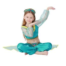 livro de trajes Desconto Halloween Menina Princesa Jasmine Traje Livro de Histórias Aladdin Lâmpada Cosplay Outfit Livro Semana do Dia das Crianças Barriga Vestido Extravagante