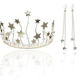 Canada Les femmes couronne boucles d'oreilles étoiles de cristal diadèmes glands boucle d'oreille mariée bijoux de mariage ensemble @ M23 Offre