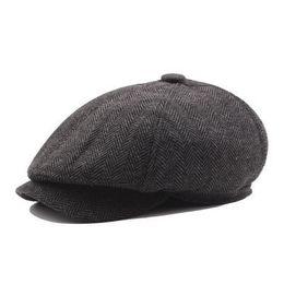 2019 шляпа мужчины плющ крышка VOBOOM женщины мужчины твид Саржа шерстяной Газетчик Cap темно-синий 8 панель страна пекарь мальчик плющ плоская крышка берет шляпы таксист Boina 111 Y18102210 дешево шляпа мужчины плющ крышка