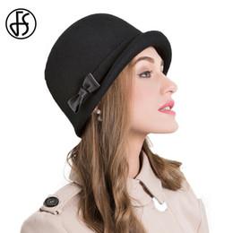 bowler cloche hats NZ - FS Elegant 100% Wool Felt Women Fedoras Hats Black  Caps cb6ab4e1bab2