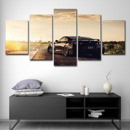 5 Pcs Su Tela Poster Hd Stampato Wall Art Immagini Camera Telaio 5 Pezzi Flashy Nissan Gtr Sports Car Dipinto Moderno Home Decor