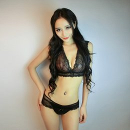Wholesale Lingerie Hot Panty Bra - 2017 Hot Sexy Lingerie Bra Set Translucent Wirefree Lace Hollow Bra Intimates Ladies Underwear Set Lace and Panty