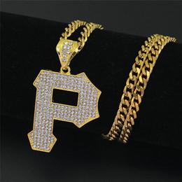 Wholesale P Pendants - Hiphop Letter P Pendant Necklaces For Boy 2018 New Fashion Hip Hop Jewelry Ice Out Cubic Zircon Charms Gold Plated Hip Hop Necklace