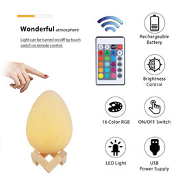 2019 éclairage d'ambiance bricolage Lampe à œufs d'impression 3D, lampe de nuit rechargeable à DEL 16 Lampe de bureau à couleur changeante Ambiance à côté de la lumière 5.9 pouces avec télécommande et commande tactile éclairage d'ambiance bricolage pas cher