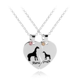 Wholesale Baby Animals Giraffe - Split Valentine Heart Mama and Baby Animal Jewelry Mama Giraffe Engraved Crystal Pendant Necklace Set Gift for Mom