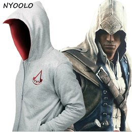assassins hoodie Rabatt NYOOLO Assassins / Attentäter Creed Conner Kenway Hoodie Mantel Jacke Männer Cosplay Kostüm Kleidung Mantel / Sweatshirt