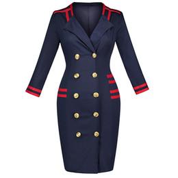 Wholesale Knee Length Winter Coats - Winter Women Dress Fashion Slim Double-Breasted Outerwear sexy Deep V dresses Windbreaker jacket Casual Women Coat Dress