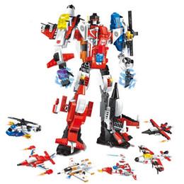 Wholesale Build Boy - 3 style new Transformation Robot Figures Building Bricks Enlighten Mecha 6in1 Building Blocks Action Figures Bricks Toy