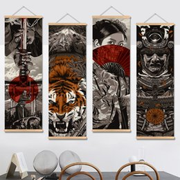 alberi dipinti d'amore Sconti Japan Samurai Vintage Poster e Stampe Scorrimento Pittura Su Tela Immagini Arte Soggiorno Decorazione Camera da letto