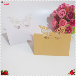Wholesale Butterfly Name Place Cards - 2018 New 50 pcs Lot seats card laser cutting Butterfly party decorating table cards Wedding Party Table Name Place Cards 7zSH082