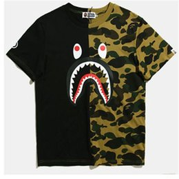 shirts patterns Coupons - 2018 Summer Designer T Shirts For Men Tops Brand T Shirt Shark Mouth Pattern Mens Clothing Short Sleeve Luxury Tshirt Casual T-shirt