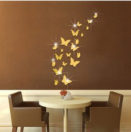 Золотые наклейки на стену онлайн-3D Wall Stickers Acrylic Mirror Surface Butterfly Wall Sticker Creative Silver Gold Butterflies DIY Decal 21pcs