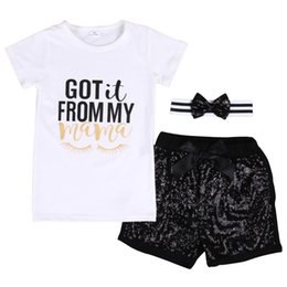 Wholesale get clothing - 3PCS  Set Cool Baby Girls Boys Clothing Sets T-shirt+ Sequins Short WITH HEADBAND Got it From my mama Summer Clothes Set 2-7T