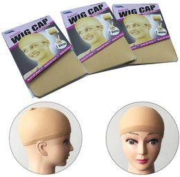 Tapas para las pelucas online-12 piezas (6packs) Deluxe Stocking Wig Liner Cap Snood poliéster Stretch Mesh Weaving Cap para usar pelucas Negro Marrón Rubio
