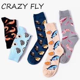 2019 patrones de vuelo Calcetines CRAZY FLY 2018 Cotton Men's Funny Cute Fish Shrimp estampado Impreso Casual señoras de colores Cool Crew Funny Happy Socks patrones de vuelo baratos