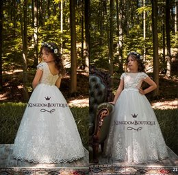 Wholesale cheap birthday shirts - Lace Backless Cheap Flower Girl Dresses Cap Sleeves Baby Girl Birthday Party Christmas Communion Dresses Children Party Dresses