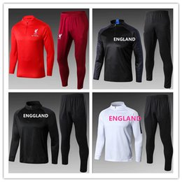 Wholesale polyester sports jacket - 18-19 Liverpooling ENGLAND tracksuit soccer jacket ROONEY SWEATER soccer chandal football tracksuit adult training suit skinny pants Sports