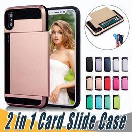 Wholesale Dual Layer Armor Case - Top Quality Dual Layer Card Slide Case Hybrid Armor Case For iPhone X 8 7 6 6S Plus 5 5S Samsung S7 edge S8 S9 Plus Note8
