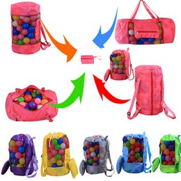 Kinder spielzeug im freien online-Kinder Strand Spielzeug Aufbewahrungstasche Kinder Falten Werkzeugnetz Tasche Für Sand Muscheln Mesh Outdoor Rucksack Sollte Tasche H48 * D24cm HH7-1002