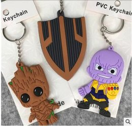 Wholesale individual gifts - Black Panther groot character shield thanos keychain avengers 3 double side keychains cartoon figure keychains gift individual package