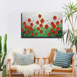 Flor faca pinturas a óleo on-line-Pinturas A Óleo da flor na Lona 100% Pintados à Mão Abstrata Sala de estar Quarto Pinturas Decorativas Moderna Casa Faca Pintura Arte