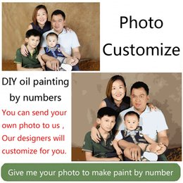 Wholesale Family Oil Paintings - Wholesale-Photo custom make your own customized DIY oil painting by numbers picture drawing canvas portrait wedding family photos