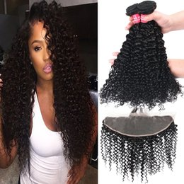 Wholesale deep wave closure bundles - 8A Remy Brazilian Straight Body Wave Loose Wave Kinky Curly Deep Wave Virgin Hair Weaves 3 Bundles With 13X4 Ear To Ear Lace Frontal Closure
