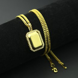 Wholesale Gold Encrusted - In 2018, the new hip-hop style of diamond-encrusted necklaces, smooth surface army pendants, gifts for boyfriends, free shipping