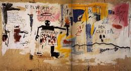 """2019 peonías pinturas china Jean-Michel Basquiat """"Per Capita"""" pintado a mano de alta calidad HD Graffiti pintura al óleo decoración para el hogar arte de la pared en la lona múltiples tamaños g64"""
