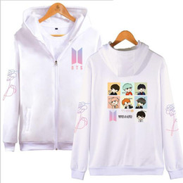Wholesale Korean Cartoon Love - Korean BTS Love Yourself Women Hoodies Sweatshirts Cartoon Print Jungkook V suga Long Sleeve Hooded Zipper Jacket KPOP Clothes