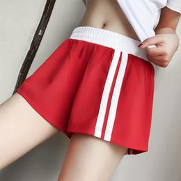 calções de noite sexy adulto Desconto Verão listras brancas calções de fitness roupas de treino para as mulheres treino solto basculante calções sweatpants calções K1036