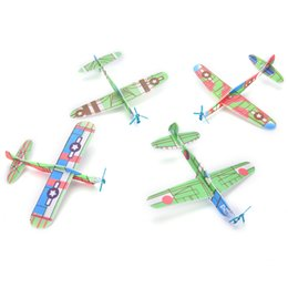 Wholesale Airplanes Wing - 12Pcs boy's gift DIY Assembly Flapping Wing Flight For Children Flying Kite Paper Airplane Model Imitate Birds Aircraft Toys