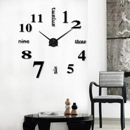 2019 relojes de pared de acrílico Reloj Reloj Relojes de Pared 3D Diy Espejo de Acrílico Pegatinas Decoración Del Hogar Sala de estar Aguja de Cuarzo Decoración # Z rebajas relojes de pared de acrílico