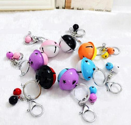Wholesale Cars Candy - Metal candy colored bell key ring pendant creative couple car bag pendant accessories cartoon cute KR049 key chain factory direct sale
