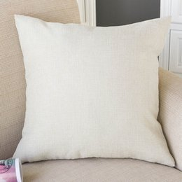 Wholesale cushion diy - Blank Cushion Cover For Thermo Transfer Print Painting Canvas Linen Sofa Pillow Case Customer's DIY Throw Pillowcase 45x45cm free shipping