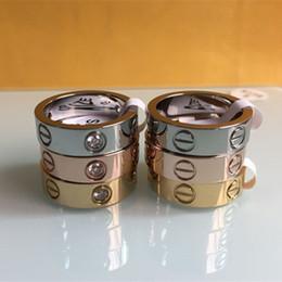 Bijoux modeschmuck stahl online-Mode Frauen Männer berühmte Marke Kristall Schmuck Carter Liebe Ringe Luxus Titan Stahl Rose Gold Bijoux Paar Liebhaber Ring