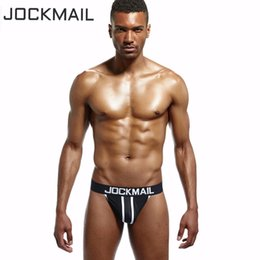 Wholesale Buttocks Size - JOCKMAIL brand 4PCS Men Mesh Jockstrap Underwear G-Strings & Thongs Sexy push up Gay Penis pouch buttocks Hollow sissy Have Fun
