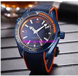 Wholesale ocean dive watches - Luxury watches Christmas gift Planet Ocean 215.92.46.22.01.001 Blue Mens Automatic Watches GMT Work 45.5mm Deep Dive 600m Cal 8906 Wrist Wat