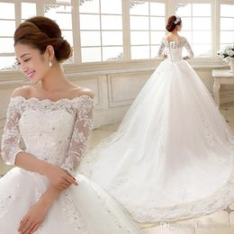 Wholesale Married Pictures - SSYFashion 2017 White Lace Wedding Dresses The Bride Married Boat Neck 3 4 Sleeves A-line Long Train Plus Size Lace-up Wedding Gowns