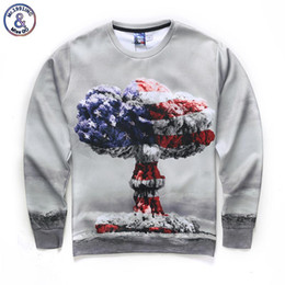 Wholesale Mushrooms Men - Hip Hop Hoodie USA flag Men Women digital printing Atomic bomb mushroom clouds autumn winter thin style 3d sweatshirts hoodies