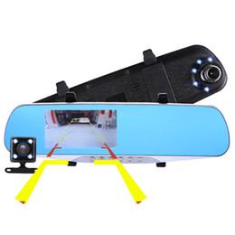 Wholesale Digital Camcorder Microphone - Night Vision Car Dvr Detector Camera Blue Review Mirror DVR Digital Video Recorder Auto Camcorder Dash Cam FHD 1080P