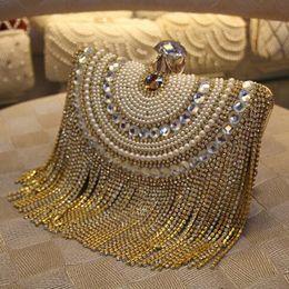Metallperlenketten online-Strass Quaste Clutch Diamanten Perlen Metall Abendtaschen Kette Schulter Messenger Geldbörse Abendtaschen für Hochzeit Tasche